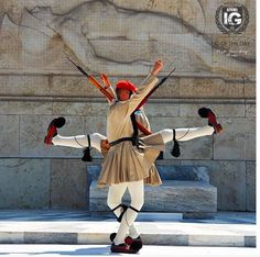 Greek presidential guards (Evzones) perform ceremonial duties at the monument of the Unknown Soldier in front of the Greek Parliament in Athens Outdoor Photography, Color Photography, Greece Today, Happy New Year Friends, Pakse, Unknown Soldier, Greek Art, People Of The World, Greece Travel