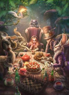 Grown up and tired she finally returned home. Alice is no longer a guest in Wonderland. Alice is back. Alice In Wonderland Artwork, Alice In Wonderland Illustrations, Alice In Wonderland Tea Party, Arte Disney, Disney Art, Alice Madness, Adventures In Wonderland, Illustrators, Fantasy Art