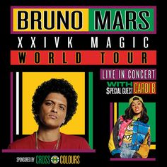 The Grammy Award winner and world-renowned Bruno Mars is returning to the stage on the Bruno Mars: Magic World Tour with special guest Cardi B! Concert Flyer, Concert Tickets, Bruno Mars Tour, Tour Posters, Music Posters, Award Winner, Grammy Award, 24k Magic World Tour, Cardi B