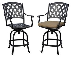 Darlee 2016307CH2 Cast Aluminum Swivel Counter Height Bar Stool  Seat Cushion Set of 2 Antique Bronze -- Click for Special Deals  #OutdoorDeals