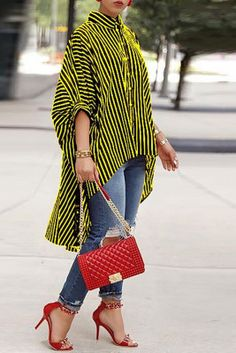 Shop Striped Print Batwing Sleeve Dip Hem Loose Blouse right now, get great deals at Chiquebabe Yellow Blouse, Yellow Coat, Yellow Black, Batwing Sleeve, Long Sleeve, Stripe Print, Casual Tops, Lady, Dips