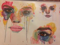 Marion Bolognesi- watercolour paint- my work are the top left and the bottom right