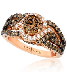 Le Vian bridal featuring a chocolate diamond in the center surrounded by elegant vanilla diamonds. Description from pinterest.com. I searched for this on bing.com/images