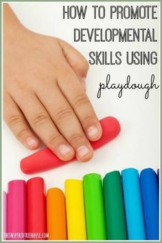 Playing with Playdough is one of those sneaky ways to encourage all kinds amazing developmental skills!  Kids are so enamored by the fun that they don't even realize the benefits to their bodies.  Check out these fine, gross and sensory motor activities using the squishy dough!