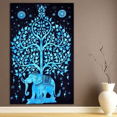 ModTradIndia-Elephant Under Tree Tapestry, Indian Hippie Wall Hanging , Bohemian Bedspread, Mandala Cotton Dorm Decor Beach Blanket *** Click image for more details. (This is an affiliate link) #Tapestries