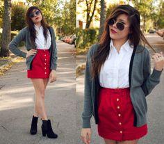 Topshop Tulip Skirt, Ralph Lauren Sleeveless Button Up