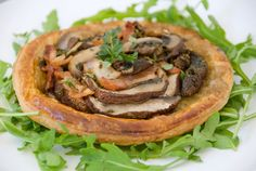 Ingredients 4 sheets puff pastry 3 cups thinly sliced mushrooms 4 rashers bacon, cooked and chopped 1 tablespoon fresh thyme leaves 2 tablespoons chopped parsley salt and freshly ground black peppe…