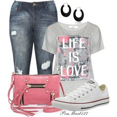 Life is Love by penny-martin on Polyvore featuring polyvore, fashion, style, Zizzi, Converse, Botkier, Bling Jewelry and clothing
