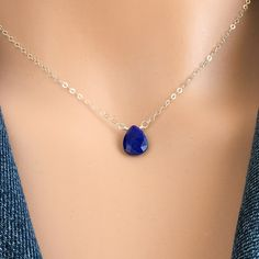 Lapis Lazuli Necklace - Blue Lapis Necklace -  Dainty Gemstone Choker Necklace - December Birthstone -  Rose Gold - Gold - Silver