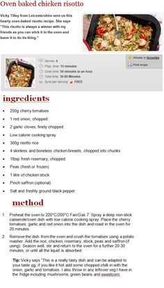 Oven Baked Risotto, Chicken Risotto, Oven Baked Chicken, Slimming Eats, Slimming World Recipes, Risotto Recipes, Food Print, Dinner Ideas, Healthy Recipes