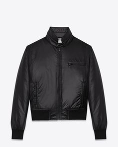 CLASSIC SAINT LAURENT BASEBALL JACKET WITH stand-up band collar and zipped chest pocket and front pockets.