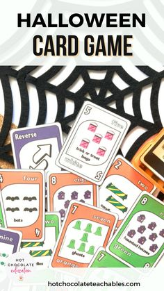 practice and recognize numbers one to ten and colors: orange, green, purple and white. They will also learn and practice Halloween related vocabulary words while playing. The game is modeled after the popular card game that kids absolutely love.