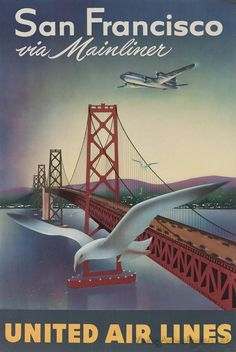 San Francisco, California - United Airlines vintage travel poster