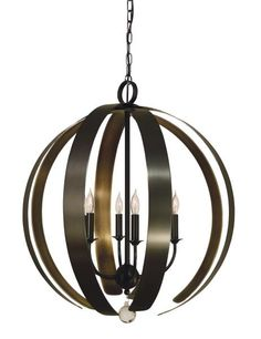 "Framburg   Venus 4779   Foyer chandelier 24""W x 36""H with 98"" extension. 6-60 Watt candle clear. Shown in mahogany bronze with antique brass accents on inner strapping. Made in the USA. #HPmkt"