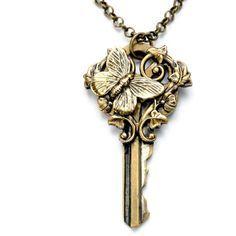 Steampunk Necklace Steampunk Vintage Key Necklace Dragonfly Necklace... ($30) ❤ liked on Polyvore