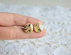 Big stud earrings hand painted earrings reclaimed by MyPieceOfWood