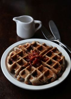 Bacon Blueberry Waffles | when the bacon is IN your waffles, which are light and crispy, and you drizzle maple syrup on them and it gets in all the crannies and you cannot escape that somewhat intoxicating combination of warm and crunchy and salty and sweet, well that takes it to a whole new dimension.