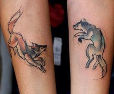 Could make into foxes, one jumping, one playing   wolves playing tattoo