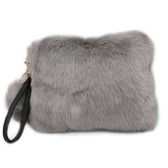 b45ba44712 Tigerstars l  18.00 Soft Furry Faux Fur Pom Pom Wristlet Clutch Bag