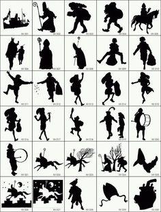 Free clip art for Sinterklaas Shadow Puppets, Winter Solstice, Art Plastique, Paper Cutting, Silhouette Cameo, Cricut, Clip Art, Printables, Illustrations