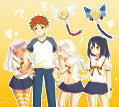 Kuro, Illya, Miyu, and Shirou