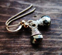 Pyrite Earrings Sterling Silver 14K Gold by thelittlehappygoose,