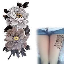 2016 New China Peony Flower Tattoo Series Dark Colors Waterproof Temporary Tattoos Stickers Arm Leg Tatto Peony Flower Tattoos, Flower Tattoo On Side, Flower Tattoo Drawings, Flower Tattoo Shoulder, Peonies Tattoo, Tattoo Arm Designs, Flower Tattoo Designs, Temp Tattoo, Temporary Tattoo