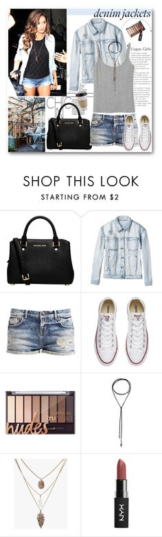 """Denim jacket"" by mery90 ❤ liked on Polyvore featuring MICHAEL Michael Kors, RVCA, Converse, denimjackets and WardrobeStaples"