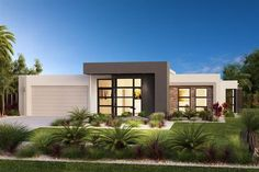 Find 4 bedroom house plans in VIC. Refine the search and discover the best 4 bedroom home designs & floor plans for your dream home. Modern House Facades, Modern House Design, Modern Architecture, Flat Roof House, Facade House, Design Exterior, Wall Exterior, 4 Bedroom House Plans, Custom Home Builders