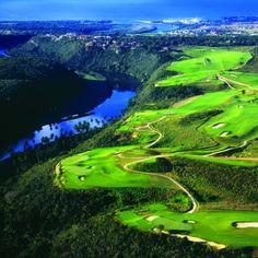 Dye Fore golf course (Pete Dye design) overlooking the Chavon River in La Romana, Dominican Republic.