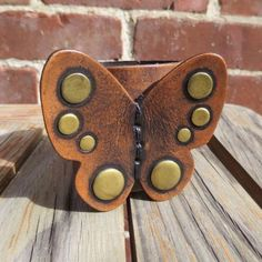 Genuine Leather Butterfly Cuff Bracelet With Brass Studs Boho Wide Vegetable Dyed Studded Cowhide By Karen Kell