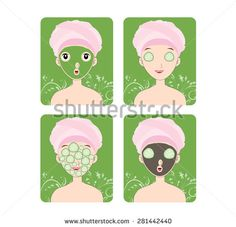 Woman with facial mask and cosmetics - stock vector
