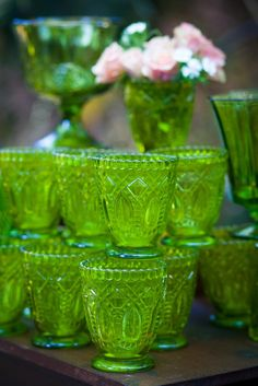 vintage style pantones 2017 greenery glass votives on your wedding reception tables!  Photo @purplesagephoto and@DixiDoesVintage  Dixie Does Vintage Rentals in Dallas TX  l