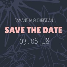 A modern Save The Date Wedding Invitation with a dark, floral background and light pink text. Modern Save The Dates, Wedding Invitations, Dating, Social Media, Christian, Dark, Floral, Quotes, Wedding Invitation Cards