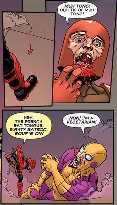 "mahvelbaby:  ""NON! I'm a VEGETARIAN!"" Deadpool #10"