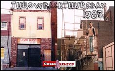 Left Picture: Guzzo Stucco Office in Philadelphia January 1985  Right Picture: Jerry Guzzo, Owner on the job in April 1985!