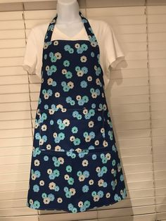 Navy Blue flower apron / blue and Grey flowers / adult apron with pocket / garden party apron