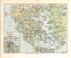 Greece Vintage Map 1923 Political Division by carambas on Etsy, $16.00