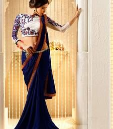 Buy navy blue embroidered georgette saree with blouse georgette-saree online