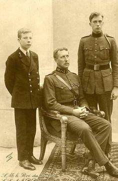 Prince Charles, King Albert I and Prince Leopold (future King Leopold III) of Belgium.