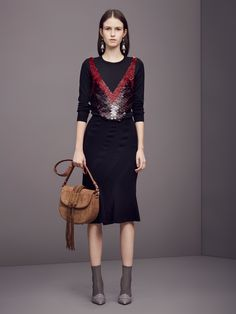 Black Dress Ensemble with a touch of Red - Altuzarra Pre-Fall 2016 Collection Photos - Vogue