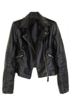 Romwe Лацканы молнии Длинные рукава черные куртки Виниловые