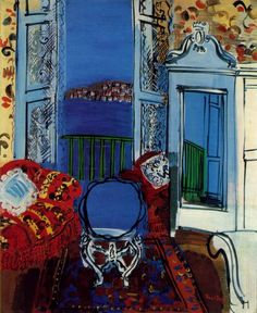 "Open Window, Nice ~ artist Raoul Dufy, c.1928; oil on canvas, 25 5/8"" x 21 1/8"". Art Insitute of Chicago #art #painting #Fauvism"