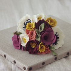 Cream anemone plum and mustard yellow felt flower by ElleandLu