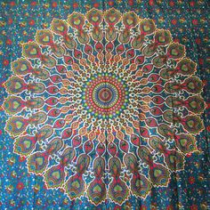 Blue Psychedelic Mandala Tapestry / Mandala Wall Hanging / Mandala Bedspread - VIVI & SAM