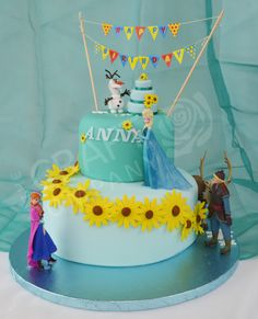 Frozen Fever Cake - Made by The Craft Company - For all your cake decorating… Frozen Fever Cake, Frozen Theme Cake, Frozen Birthday Party, 4th Birthday Cakes, Summer Birthday, 6th Birthday Parties, Turtle Birthday, Turtle Party, Carnival Birthday