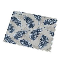Uneekee Blue Feathers Cutting Board: Small #cutting board #blue #feathers #design #pattern #glass #uneekee #kitchen