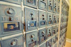 Remember this?  Old post office boxes with combination locks