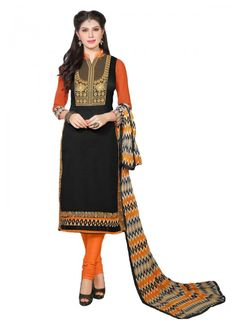 Bottom Fabric Cotton Colour Orange, Black Dupatta Fabric Chiffon Fabric Cotton Fabric Care Dry Clean Only Occasion Festival, Party Shipping time 7 days Size Free Size Type Dress Material Work Embroidered