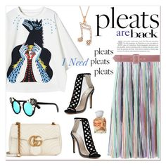 """""""Pleats are Back!"""" by watereverysunday ❤ liked on Polyvore featuring Gucci, Allurez, Issey Miyake and Elie Saab"""